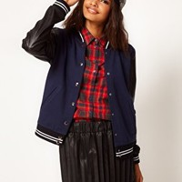 ASOS Bomber with Stripe Rib PU Sleeve at asos.com