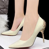 Shimmering Pointed Toe Fretwork Stiletto Heel Pumps