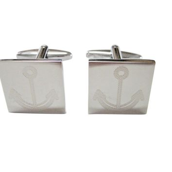 Silver Toned Etched Simple Nautical Anchor Cufflinks
