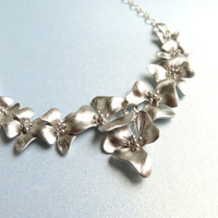 Silver Flower Necklace Silver Orchid Pendant Floral Silver Necklace Bib Necklace, Bridal