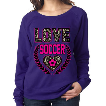 Love Soccer Leopard Womens long sleeve Pullover