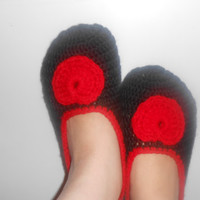 Crochet Slippers with heart - MADE TO ORDER