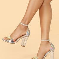 Holographic Detail Vinyl Band Clear Chunky Heels
