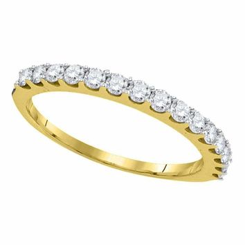 14kt Yellow Gold Women's Round Pave-set Diamond Single Row Wedding Band 1-2 Cttw - FREE Shipping (US/CAN)