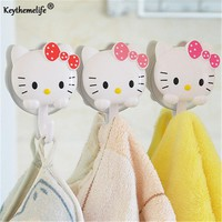 Keythemelife 1 Pair Hello kitty Sucker Hook Storage Rack Wall Suction Hanger Towel Holder Shelves Bathing Accessories D3
