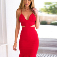 Red Strappy Backless Fishtail Bodycon Mini Dress