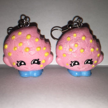 Shopkins Foodie Earrings - Kooky Cookie [glitter] - made with repurposed toys