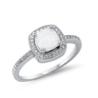 Sterling Silver Cushion Cut White Opal Halo Ring