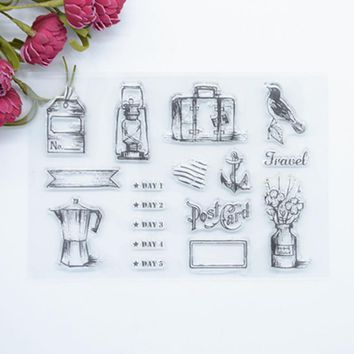 2017 brand new  Scrapbook DIY Photo Album Account Transparent Silicone Rubber Clear Stamps Travel 11x16cm