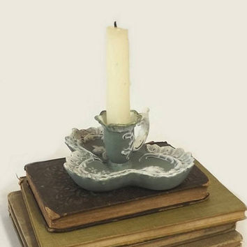 Bisque Chamber Candlestick, Vintage Candle Holder with Angels, Green & White Porcelain, Finger Chamberstick