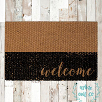 """Colorblock """"welcome"""" Coir Doormat, Decorative Area Rug, Hand Painted Hand Woven, Housewarming Gift"""