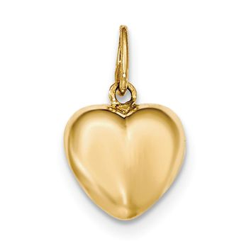 14k Yellow Gold Three Dimensional Puffed Heart Charm or Pendant, 14mm