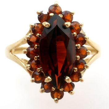 10K Gold Garnet Gemstone Ring Size 8