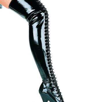 Women's 6 Inch Thigh High Boots (12,Black)