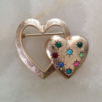 Rhinestone Heart Pin or Brooch, Emmons Vintage Jewelry, Gift for Her SPRING SALE