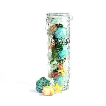 Glass Pasta Jar, Retro Fruit Motif - Tall, Large Spaghetti Size - Rubber Gasket Seal, Wire Bail Clamp - Vintage Home Kitchen Decor or Use