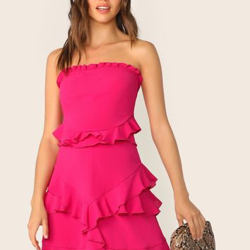 Neon Pink Bow Tie Back Ruffle Tube Dress