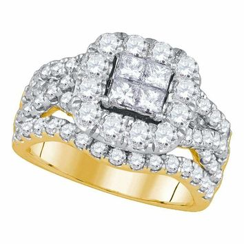 14kt Yellow Gold Women's Princess Diamond Cluster Halo Twist Bridal Wedding Engagement Ring 2-1-2 Cttw - FREE Shipping (USA/CAN)