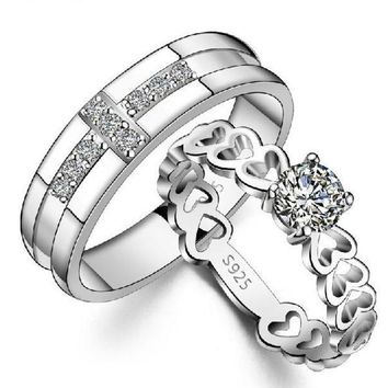 Couple Love Heart 925 Sterling Silver Ring Comfort Fit Wedding Bands Promise Rings For Women = 1929838404
