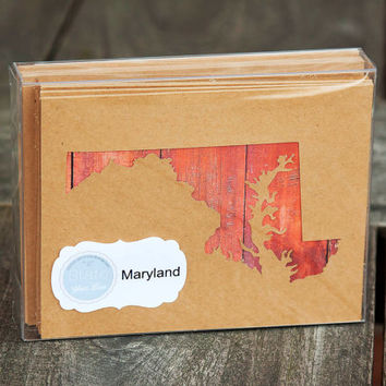 Maryland or any US shape map cutout wood texture photography blank note cards. Box/12. Die cut, Thank You, Country Chic, Rustic Blank Cards