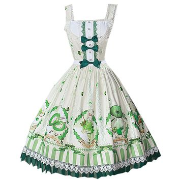 Partiss Womens Classic Sweet Matcha Dessert Lolita Dress Vintage Pringting Skirt