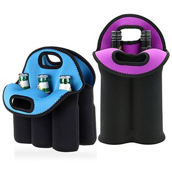 Hipiwe Set of 2  Insulated Neoprene Wine Carrier Tote Bag + 6 Pack Beer Water Can Carrier Tote Bottle Holder Baby Cooler Bag  Perfect for Travel with Secure Carry Handle