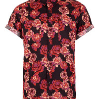 Black Burgundy Rose Print Short Sleeve Shirt - Shirts - New In - TOPMAN USA