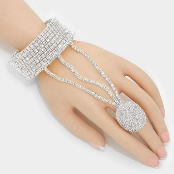 """ All the Bling""  Rhinestone Bracelet Pave Crystal Ring Combo On Silver Tone"