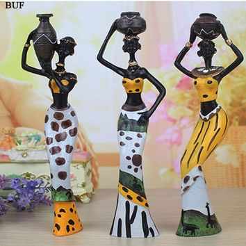 BUF 3pcs/lot  6*5*20cm African Woman Statue Resin Ornaments Home Decoration accessories craft Statue Creative Sculpture Gift
