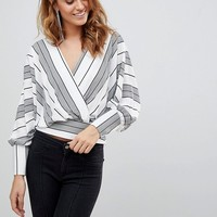 ASOS Batwing Plunge Top in Casual Stripe at asos.com