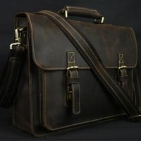 Leather Men's Briefcase Laptop Bag