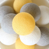20 Cotton Ball Lights, Wedding Light, Patio Party, Fairy, Bedroom, Outdoor, Decor -  Pastel Yellow Grey White