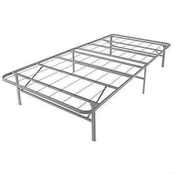 Twin XL Steel Platform Bed Frame in Silver Metal Finish