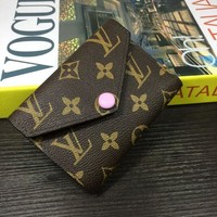 LV Louis Vuitton Trending New Style Women Leather Print Pink Buckle Handbag Wallet Purse I