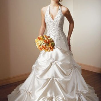Ball-Gown Halter Cathedral Train Taffeta Wedding Dress With Embroidered Beading