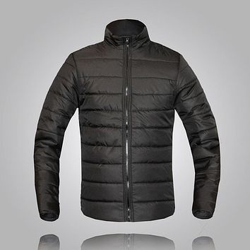 New arrive autumn and winter dress solid color and stand collar thin cotton padded jacket men 10 colors size m-3xl MF1