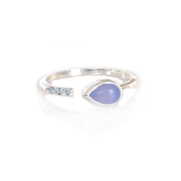 Silver Lavender Chalcedony and Topaz Siren Ring