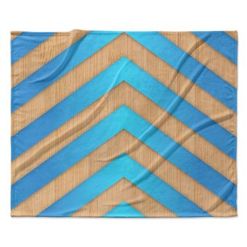 "Marta Olga Klara ""Turquoise Chevron"" Blue Brown Fleece Throw Blanket"