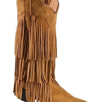Tanner Mark Boots - Buttercup Suede Fringe Cowgirl Boots