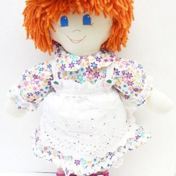 hand made rag dolls cloth rag doll Christmas Toy straight orange hair blue eyes yellow flowered hat dressable doll rag doll handmade NF204