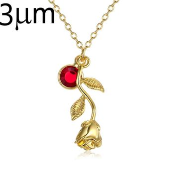 3D Rose Necklace gold color Personalized custom Birthstone charm Necklace  Final Rose Flower Beauty and the a2ede2d358