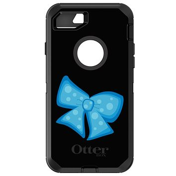 DistinctInk™ OtterBox Defender Series Case for Apple iPhone / Samsung Galaxy / Google Pixel - Light Blue Black Bow Ribbon