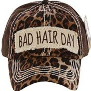 stylish BAD HAIR DAY LEOPARD & Brown PRINT HAT Baseball CAP