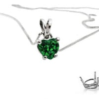 "Emerald Heart Pendant in 14K White gold including 16.5"" chain"