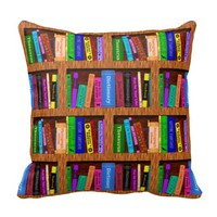 Library Book Shelf Pattern for Readers Pillows