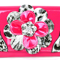 * Leopard tri-folder Pink Flower Wallet