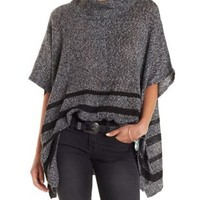 Dark Gray Combo Marled & Striped Turtleneck Poncho by Charlotte Russe