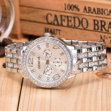 GENEVA Tide brand diamond three-eye steel belt men and women casual quartz watch Silver