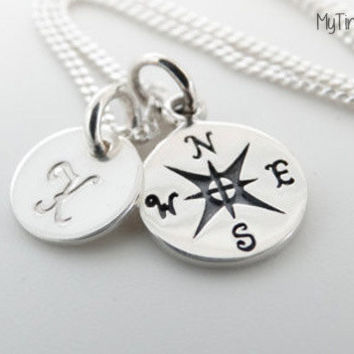 Personalized compass Necklace Initial charm Graduation gift friends Necklace Silver compass grad gift best friends jewelry compass necklace