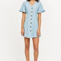 Horn Button Flippy Denim Dress - Dresses - Clothing